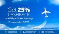 Flat 25% cashback up to ₹555 on flight ticket bookings. No minimum order value.