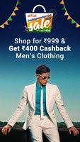 Men's Clothing - Shop For Rs.999 & Get Flat Rs.400 Cashback