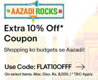 eBay Aazadi Rocks - Flat 10% - 15% off upto Rs.8000 On Mobiles, Laptops and M...