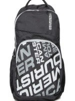 American Tourister Unisex Black Logo Print Backpack
