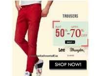 Men's Trousers minimum 50% off to 80% off from Rs. 395 @ Amazon
