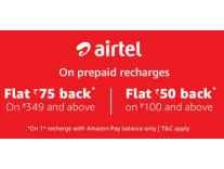 [First Airtel Recharge] Rs. 50 Cashback on Rs.100, Rs. 75 Cashback on Rs. 349 - Amazon