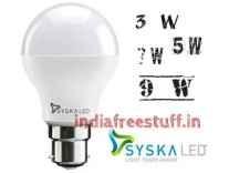 Syska Led B22 LED Bulb 3 W Rs. 85, 5 W Rs. 89, 7 W Rs. 90, 9 W Rs. 95 @ Flipkart