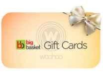 Big basket EGift Gift Card Rs. 500 at Rs. 450, Rs. 1000 at Rs. 900, Rs. 2000 at Rs. 1800, Rs. 3000 at Rs. 2700, Rs. 5000 at Rs. 4500