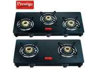 Prestige Marvel Glass Gas Stove Black 3 Burner Rs. 3999, 4 Burner Rs. 4692- Amazon