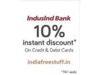 Indusind Debit & Credit Cards 10% Instant Discount on Rs. 1000 @ Snapdeal