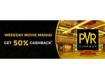Flat 50% Cashback (Max Rs.150) on Movie Ticket Bookings at PVR