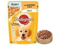 Pedigree Gravy Puppy Food, Chicken and Rice in Jelly, 100 g Pouch (Pack of 4) Rs.105 - Amazon